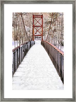 Androscoggin Swinging Bridge In Snow Framed Print