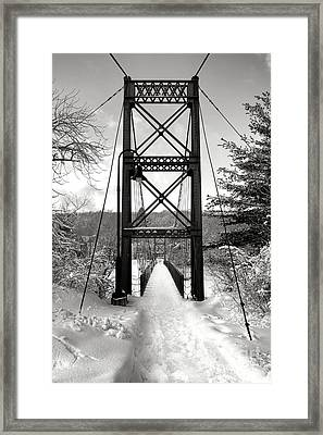 Androscoggin Swinging Bridge In Winter Framed Print by Olivier Le Queinec