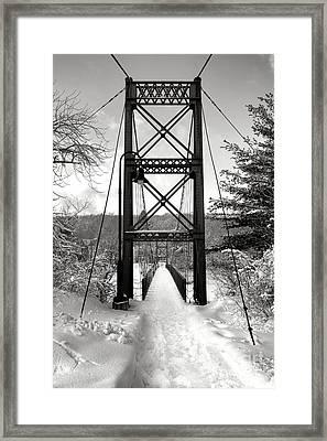 Androscoggin Swinging Bridge In Winter Framed Print