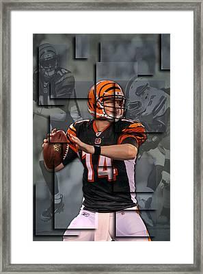 Andy Dalton Cincinnati Bengals Blocks Framed Print by Joe Hamilton