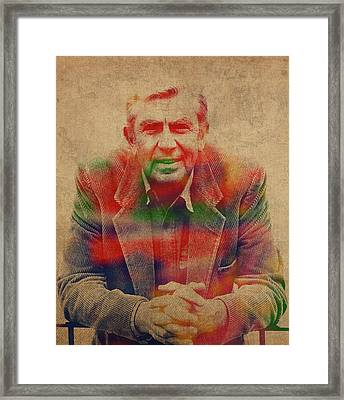 Andy Griffiths Watercolor Portrait Framed Print