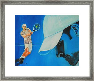 Framed Print featuring the painting Andy Roddick by Quwatha Valentine