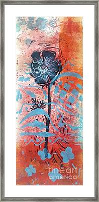 Anemone In Orange And Blue Framed Print