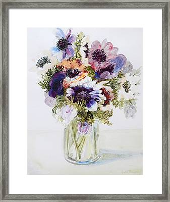 Anemones In A Glass Jug Framed Print by Joan Thewsey