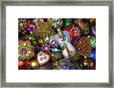 Angel Among The Ornaments Framed Print