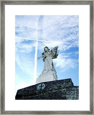 Angel And Crosses Framed Print