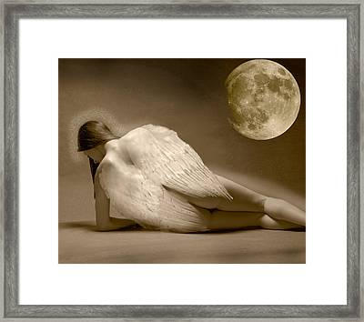 Angel And Moon Framed Print by Gustavo Fortunatto