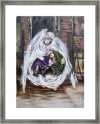 Angel And The Orphans Framed Print
