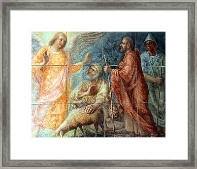 Angel And The Shepherds Framed Print by Munir Alawi