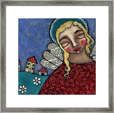 Angel And Village Framed Print by Julie-ann Bowden