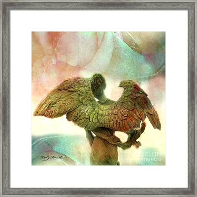 Angel Art Dreamy Surreal Whimsical Angel Art Wings Print - Impressionistic Angel Art Framed Print by Kathy Fornal