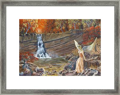 Angel At The Waterfall Framed Print
