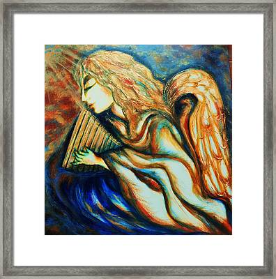 Framed Print featuring the greeting card Angel Awakening by Rae Chichilnitsky