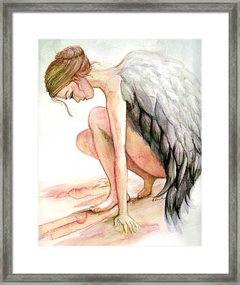 Angel Bowed Framed Print by L Lauter