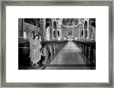 Angel - Catholic Church - Chicago - Black And White Framed Print by Nikolyn McDonald