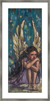Angel Child Painting On Reclaimed Wood Framed Print by Kim Marshall