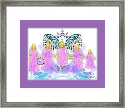 Framed Print featuring the digital art Angel Cousins #198 by Barbara Tristan