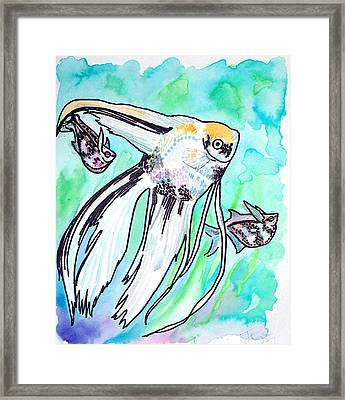 Framed Print featuring the painting Angel Fish And Hatchet Tetras by Jenn Cunningham