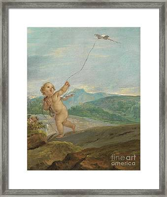 Angel Flying A Kite Framed Print by Celestial Images