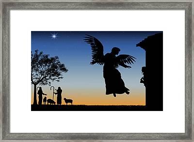 Angel Gives Mary Good News Framed Print by Kim Freitas