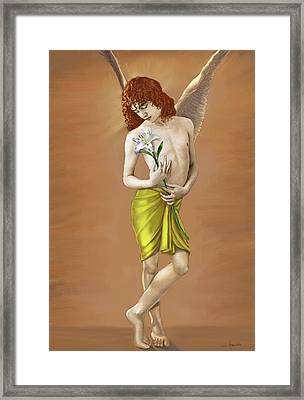 Angel Holding A Lily Framed Print by Dominique Amendola
