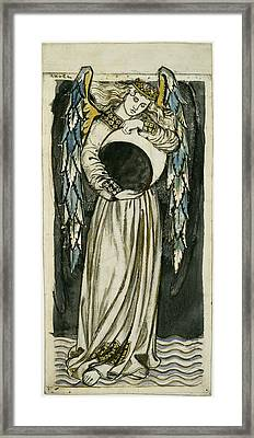 Angel Holding A Waning Moon Framed Print by William Morris