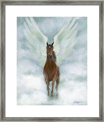Angel Horse Running Free Across The Heavens Framed Print