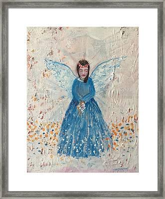 Angel In Blue Framed Print by Jun Jamosmos