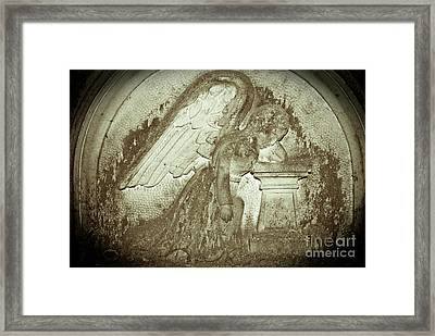 Framed Print featuring the relief Angel In Grief by Yurix Sardinelly