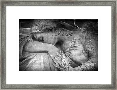 Angel In Mourning - Angel Crying Sad Cemetery Mourner At Grave - Angel Love Script Valentine Print Framed Print by Kathy Fornal