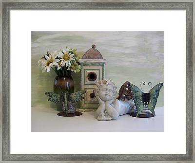 Angel In The Garden Framed Print by Marsha Heiken