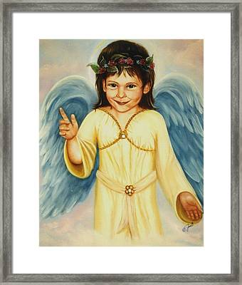 Angel In Yellow Framed Print by Joni McPherson