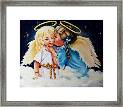 Framed Print featuring the painting Angel Kiss by Joni McPherson