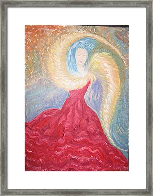 Angel Of Fire Framed Print by Helene  Champaloux-Saraswati