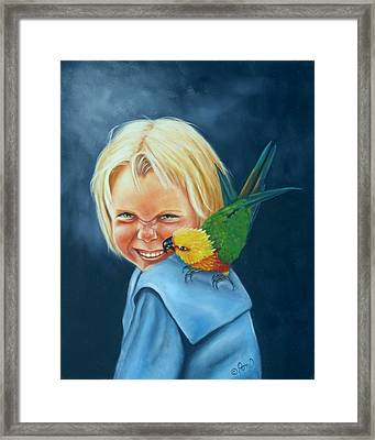 Framed Print featuring the painting Angel On My Shoulder by Joni McPherson