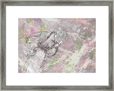 Angel On Pink And Green Florals Framed Print