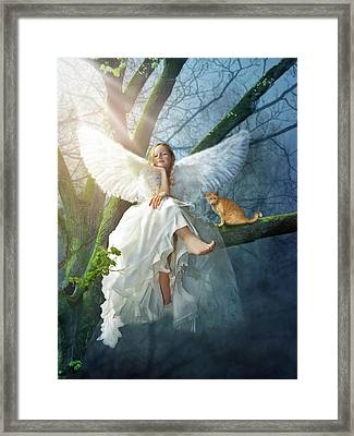 Angel On The Tree Framed Print by Cranach Studio