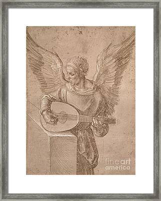 Angel Playing A Lute Framed Print by MotionAge Designs