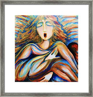 Framed Print featuring the greeting card Angel Singing by Rae Chichilnitsky