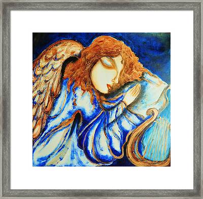 Framed Print featuring the greeting card Angel Sleeping by Rae Chichilnitsky