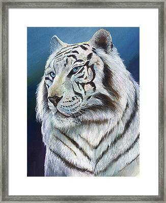 Framed Print featuring the painting Angel The White Tiger by Sherry Shipley