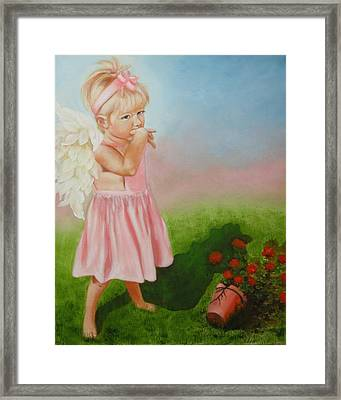 Framed Print featuring the painting Angel Thumbs by Joni McPherson