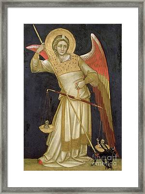 Angel Weighing A Soul Framed Print by Ridolfo di Arpo Guariento