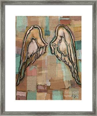 Framed Print featuring the painting Angel Wings by Carrie Joy Byrnes