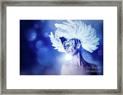 Framed Print featuring the photograph Angel Wings Venetian Mask With Feathers Portrait by Dimitar Hristov