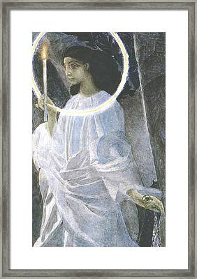 Angel With A Candle Framed Print by Mikhail Aleksandrovich Vrubel