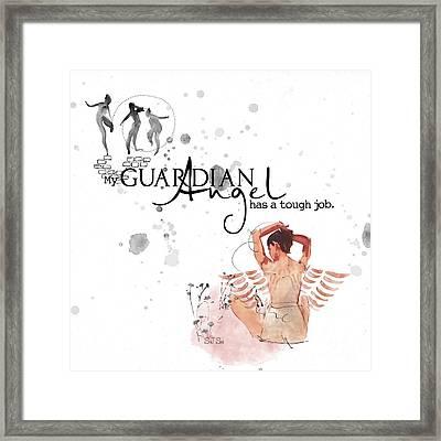 Angel With A Tough Job Framed Print