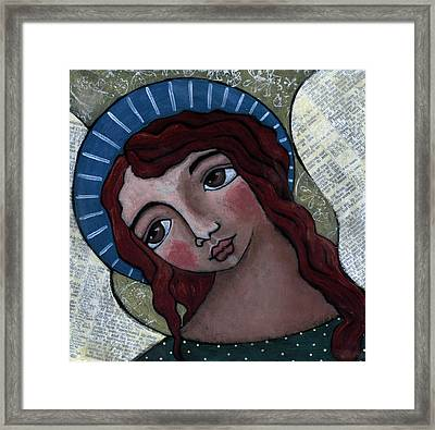 Angel With Blue Halo Framed Print by Julie-ann Bowden