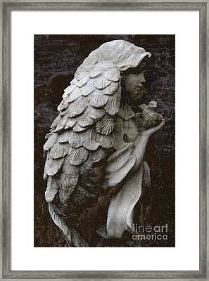 Angel With Dove Of Peace - Angel Art Textured Print Framed Print by Kathy Fornal