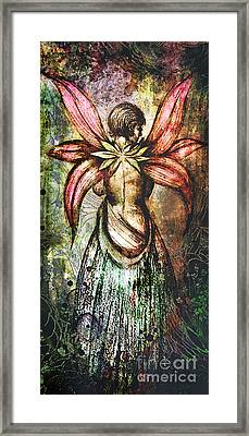 Angel With Flowery Wings Framed Print by Michael Volpicelli